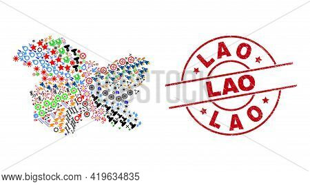 Jammu And Kashmir State Map Mosaic And Scratched Lao Red Round Stamp Print. Lao Stamp Uses Vector Li