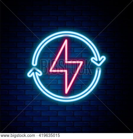 Glowing Neon Line Lightning Bolt Icon Isolated On Brick Wall Background. Flash Sign. Charge Flash Ic