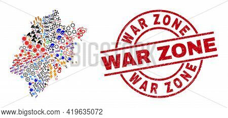 Fujian Province Map Mosaic And Textured War Zone Red Round Seal. War Zone Seal Uses Vector Lines And