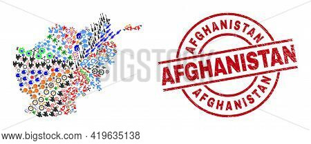 Afghanistan Map Collage And Distress Afghanistan Red Round Badge. Afghanistan Badge Uses Vector Line