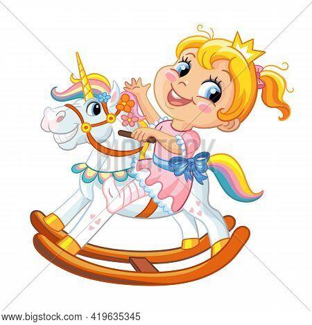 Preschool Cute Smiling Girl Riding On Fantasy Rocking Horse. Kindergarten Or Nursery Child Recreatio