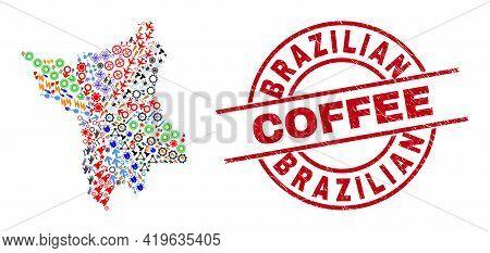 Roraima State Map Collage And Brazilian Coffee Red Round Badge. Brazilian Coffee Badge Uses Vector L