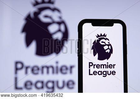 London, Uk - May 2021: Premier League Football Logo On A Smartphone Screen