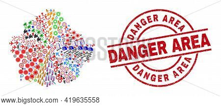 Cuenca Province Map Collage And Unclean Danger Area Red Round Badge. Danger Area Badge Uses Vector L
