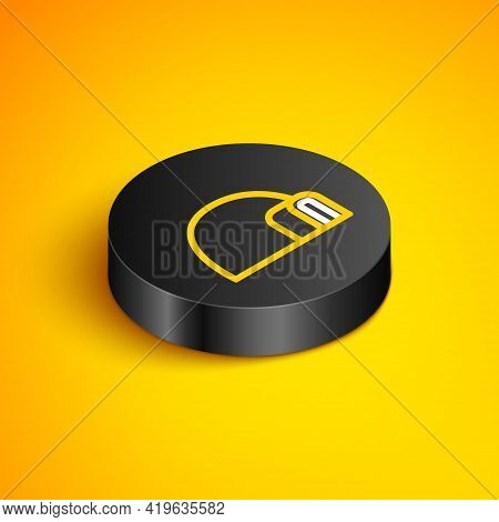 Isometric Line Igloo Ice House Icon Isolated On Yellow Background. Snow Home, Eskimo Dome-shaped Hut