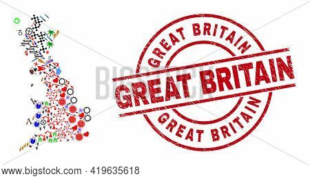 Great Britain Map Mosaic And Unclean Great Britain Red Circle Stamp Seal. Great Britain Seal Uses Ve