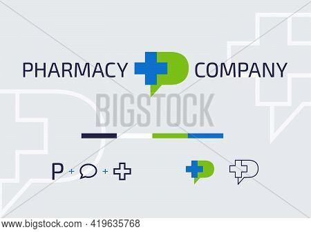 Blue Medical Cross Symbol With Green P Letter. Vector Template Logo Concept. Icon Design For Medical