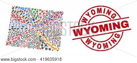 Wyoming State Map Collage And Textured Wyoming Red Round Stamp Imitation. Wyoming Stamp Uses Vector