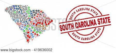 South Carolina State Map Collage And South Carolina State Red Circle Stamp Imitation. South Carolina