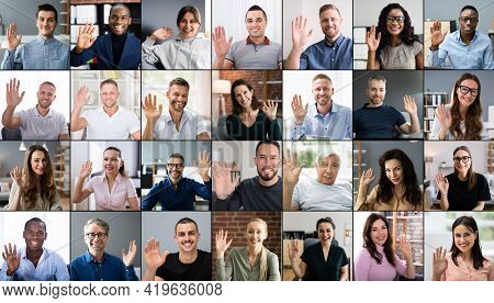 Online Virtual Video Conference Call. Group Of People Waving Goodbye