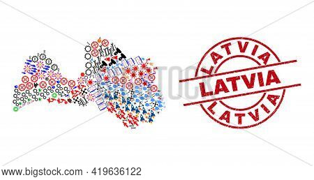 Latvia Map Collage And Unclean Latvia Red Circle Seal. Latvia Stamp Uses Vector Lines And Arcs. Latv