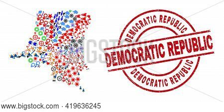 Democratic Republic Of The Congo Map Collage And Distress Democratic Republic Red Round Stamp Seal.