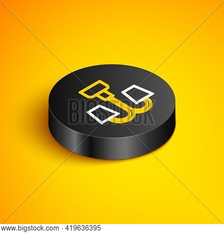 Isometric Line Chandelier Icon Isolated On Yellow Background. Black Circle Button. Vector