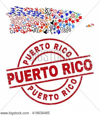 Puerto Rico Map Collage And Unclean Puerto Rico Red Circle Watermark. Puerto Rico Seal Uses Vector L