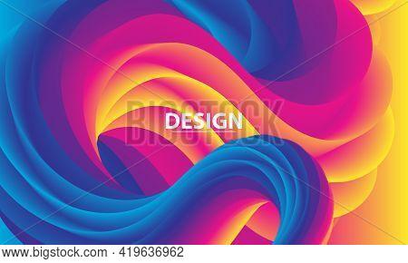 Color Background. Fluid Poster. Flow Wave. Colorful Gradient. Vector.