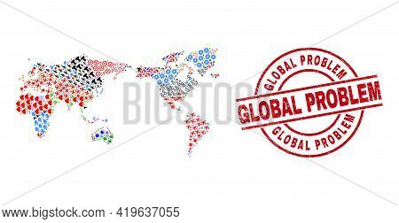 World Map Mosaic And Rubber Global Problem Red Round Stamp Seal. Global Problem Stamp Uses Vector Li