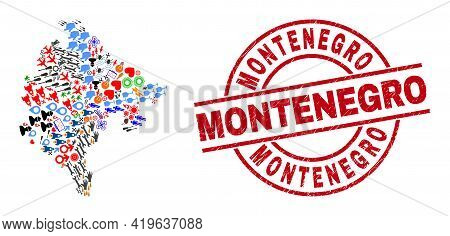 Montenegro Map Mosaic And Dirty Montenegro Red Round Stamp Imitation. Montenegro Stamp Uses Vector L
