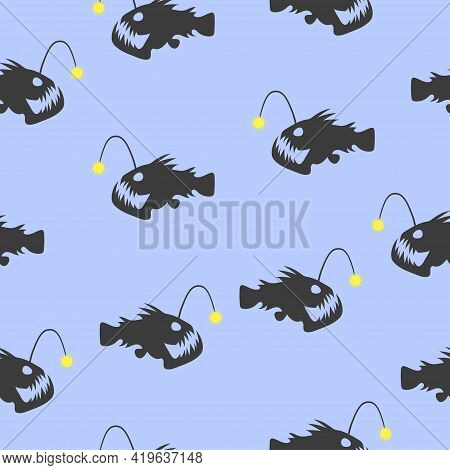 Seamless Angler Fish Pattern. Vector Marine Background With Anglers Silhouettes.