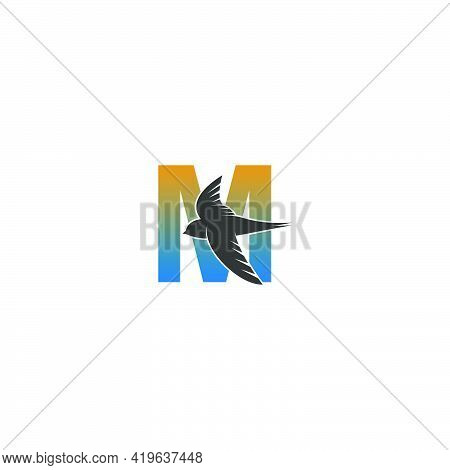 Letter M Logo With Swift Bird Icon Design Vector Template