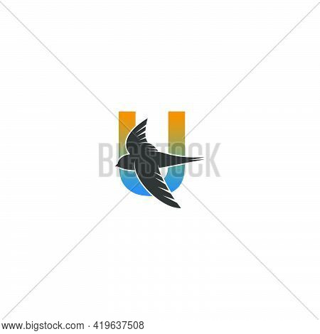 Letter U Logo With Swift Bird Icon Design Vector Template