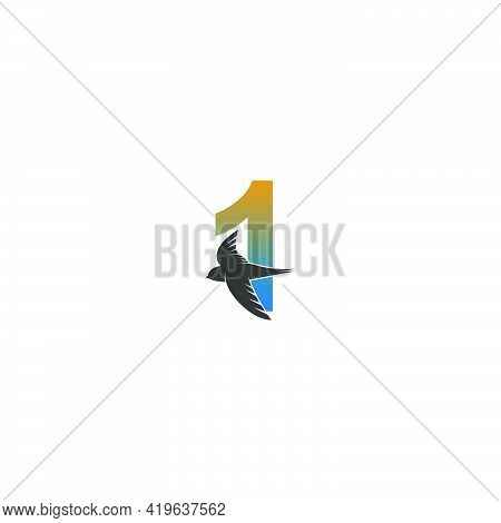 Number 1 Logo With Swift Bird Icon Design Vector Template