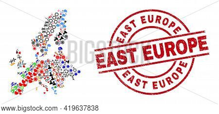 Euro Union Map Mosaic And Rubber East Europe Red Round Stamp. East Europe Stamp Uses Vector Lines An