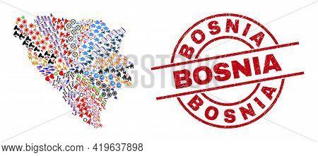 Bosnia And Herzegovina Map Mosaic And Dirty Bosnia Red Circle Badge. Bosnia Stamp Uses Vector Lines