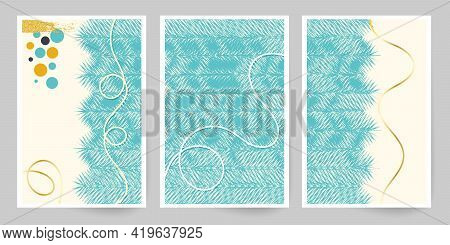 Modern Art. Abstract Cover Template. Winter Motif. Set Of Geometric Lines. Imitation Watercolor Pain