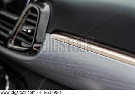 Modern Car Interior Close Up View With Metallic And Plastic Details. Interior Detail.