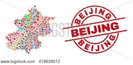 Beijing City Map Collage And Textured Beijing Red Round Seal. Beijing Seal Uses Vector Lines And Arc