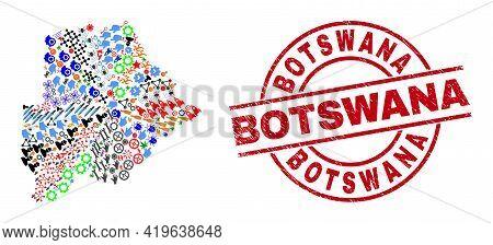 Botswana Map Mosaic And Unclean Botswana Red Circle Badge. Botswana Badge Uses Vector Lines And Arcs