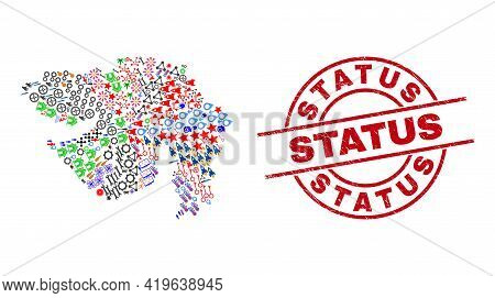 Gujarat State Map Collage And Textured Status Red Round Stamp Print. Status Stamp Uses Vector Lines