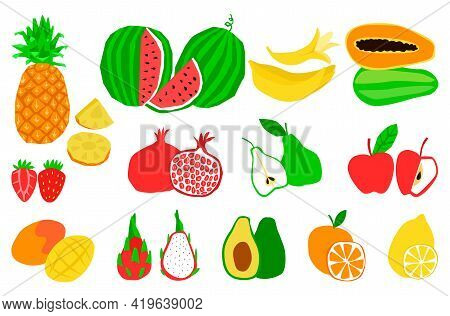 A Set Of Natural Tropical Exotic Healthy Fruits