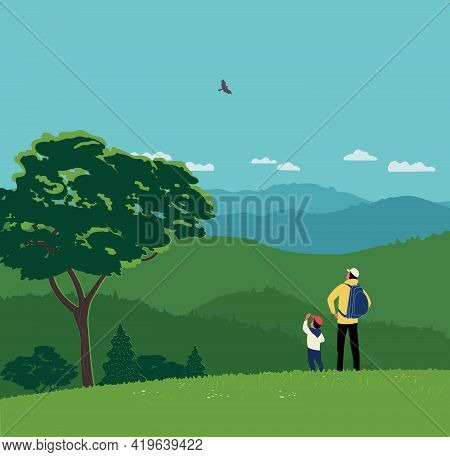 Dad And Son Hiking Together In Mountains Vector. Fathers Day Concept. Father, Kid Boy Stand Enjoy To