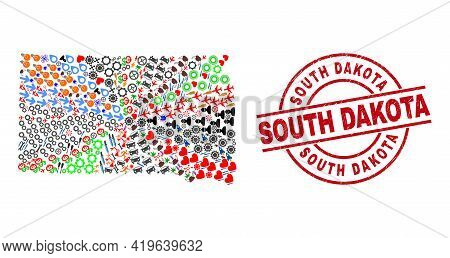 South Dakota State Map Collage And Dirty South Dakota Red Circle Stamp. South Dakota Badge Uses Vect