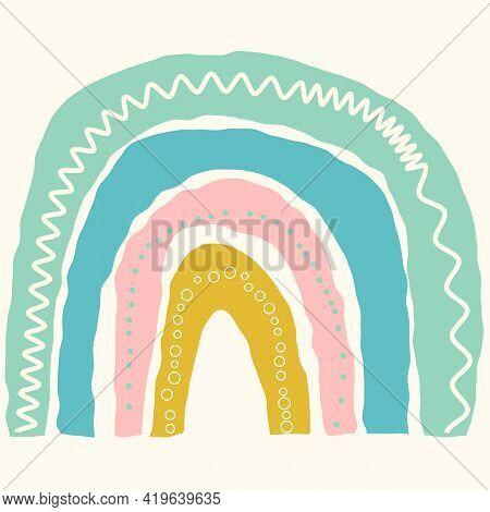 Scandinavian Cute Rainbow Isolated On A White Background. Cartoon Fun Rainbow. Childish Drawing For