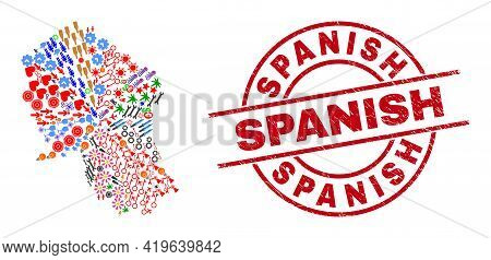 Cordoba Spanish Province Map Collage And Distress Spanish Red Circle Stamp Print. Spanish Stamp Uses