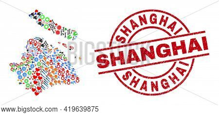 Shanghai City Map Collage And Shanghai Red Circle Seal. Shanghai Badge Uses Vector Lines And Arcs. S