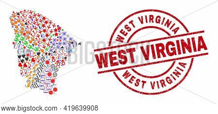 Ceara State Map Collage And Grunge West Virginia Red Round Stamp Print. West Virginia Stamp Uses Vec