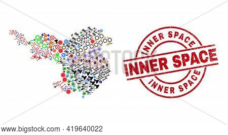 Gerona Province Map Mosaic And Dirty Inner Space Red Circle Stamp. Inner Space Stamp Uses Vector Lin