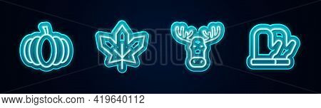 Set Line Pumpkin, Canadian Maple Leaf, Moose Head With Horns And Christmas Mitten. Glowing Neon Icon