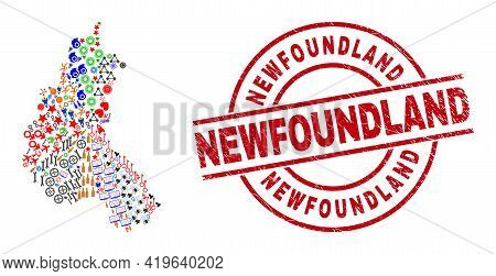 Champagne Province Map Collage And Newfoundland Red Round Stamp Print. Newfoundland Badge Uses Vecto