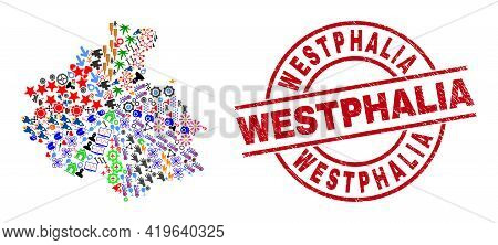 Altai Republic Map Collage And Unclean Westphalia Red Round Stamp Print. Westphalia Stamp Uses Vecto