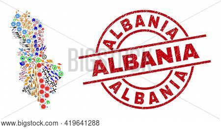 Albania Map Collage And Textured Albania Red Circle Watermark. Albania Stamp Uses Vector Lines And A
