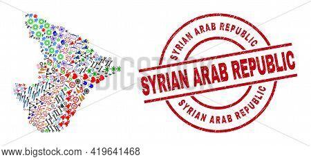 Sergipe State Map Mosaic And Distress Syrian Arab Republic Red Circle Stamp Print. Syrian Arab Repub
