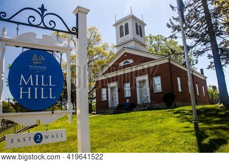 NORWALK, CONNECTICUT - MAY 6, 2021: Norwalk former Town House from 1835 located at Mill Hill historic park