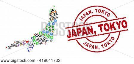 Honshu Island Map Collage And Textured Japan, Tokyo Red Circle Seal. Japan, Tokyo Seal Uses Vector L