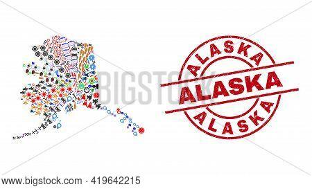 Alaska Map Mosaic And Grunge Alaska Red Circle Seal. Alaska Seal Uses Vector Lines And Arcs. Alaska