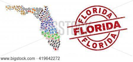 Florida State Map Collage And Grunge Florida Red Round Stamp Imitation. Florida Stamp Uses Vector Li