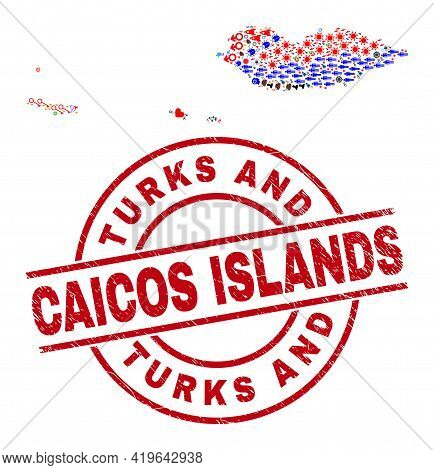 Socotra Archipelago Map Collage And Distress Turks And Caicos Islands Red Round Stamp Imitation. Tur